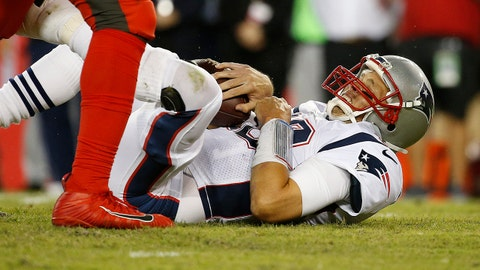 Oct 5, 2017; Tampa, FL, USA; New England Patriots quarterback Tom Brady (12) reacts after being sacked against the Tampa Bay Buccaneers during the first half at Raymond James Stadium. Mandatory Credit: Kim Klement-USA TODAY Sports