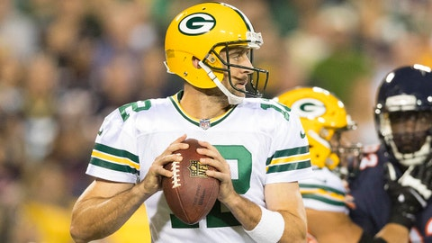 Sep 28, 2017; Green Bay, WI, USA; Green Bay Packers quarterback Aaron Rodgers (12) looks to throw a pass during the second quarter against the Chicago Bears at Lambeau Field. Mandatory Credit: Jeff Hanisch-USA TODAY Sports