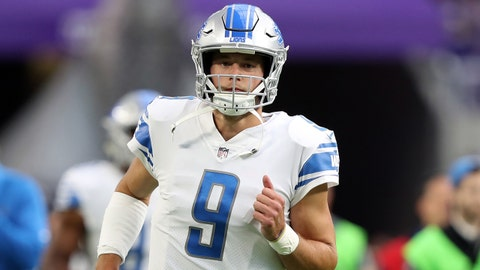 Oct 1, 2017; Minneapolis, MN, USA; Detroit Lions quarterback Matthew Stafford (9) warms up before their game against the Minnesota Vikings at U.S. Bank Stadium. Mandatory Credit: Reese Strickland-USA TODAY Sports