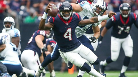 Oct 1, 2017; Houston, TX, USA; Houston Texans quarterback Deshaun Watson (4) runs with the ball during the second quarter against the Tennessee Titans at NRG Stadium. Mandatory Credit: Troy Taormina-USA TODAY Sports