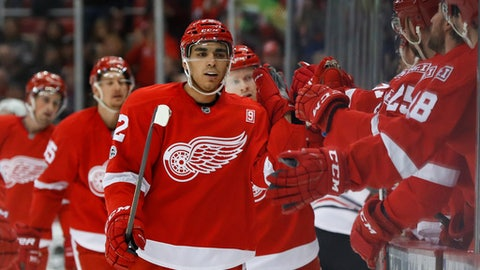 Detroit Red Wings center Andreas Athanasiou (72) celebrates his goal against the Chicago Blackhawks in the first period of an NHL hockey game Friday, March 10, 2017, in Detroit. (AP Photo/Paul Sancya)