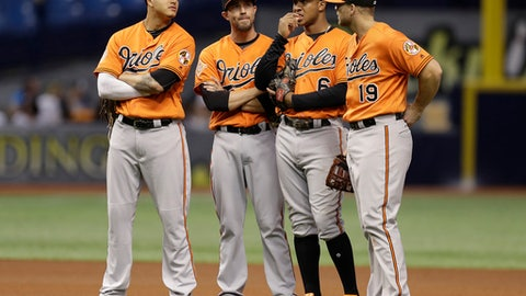 Baltimore Orioles, from left, Manny Machado, J.J. Hardy, Jonathan Schoop, and Chris Davis, stand together during a pitching change in the eighth inning of a baseball game against the Tampa Bay Rays, Saturday, Sept. 30, 2017, in St. Petersburg, Fla. (AP Photo/Chris O'Meara)
