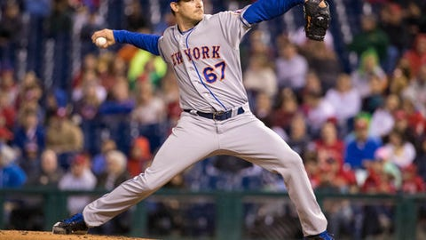 New York Mets starting pitcher Seth Lugo throws during the second inning of a baseball game against the Philadelphia Phillies, Saturday, Sept. 30, 2017, in Philadelphia. (AP Photo/Chris Szagola)