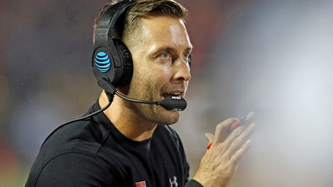 Texas Tech coach Kliff Kingsbury claps during an NCAA college football game against Oklahoma State in Lubbock, Texas, Saturday, Sept. 30, 2017. (Brad Tollefson/Lubbock Avalanche-Journal via AP)