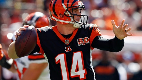 Cincinnati Bengals quarterback Andy Dalton looks to throw in the first half of an NFL football game against the Cleveland Browns, Sunday, Oct. 1, 2017, in Cleveland. (AP Photo/Ron Schwane)