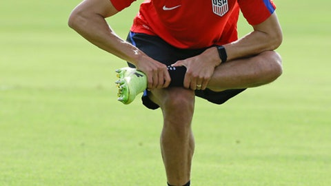 United States defender Omar Gonzalez stretches during a soccer training session, Monday, Oct. 2, 2017, in Sanford, Fla. The United States hosts Panama in a World Cup qualifying match on Friday, Oct. 6. (AP Photo/John Raoux)