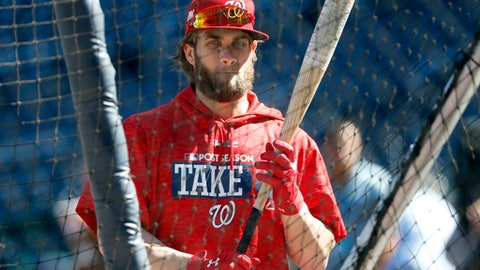 Washington Nationals right fielder Bryce Harper waits to bat during practice at Nationals Park, Tuesday, Oct. 3, 2017, in Washington. Game 1 of the National League Division Series against the Chicago Cubs is Friday. (AP Photo/Alex Brandon)