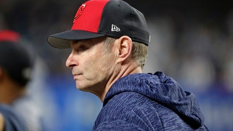 Minnesota Twins manager Paul Molitor watches as his team takes batting practice for the American League wild-card baseball game against the New York Yankees on Tuesday, Oct. 3, 2017, in New York. (AP Photo/Frank Franklin II)