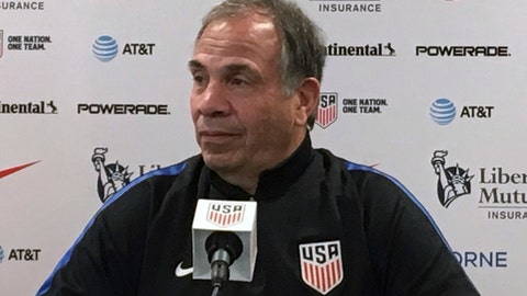 United States men's national soccer team head coach Bruce Arena speaks to the media during a press conference in Orlando, Fla., Thursday, Oct. 5, 2017. Panama and the U.S. meet in a World Cup qualifying match in Orlando on Friday. (AP Photo/Ron Blum)