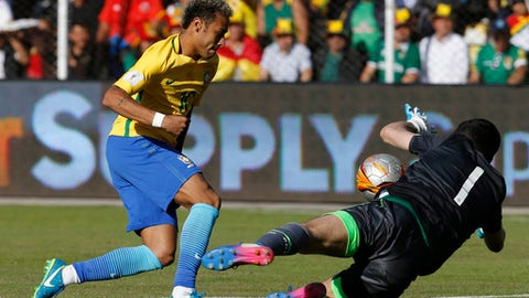 Bolivia goalkeeper Carlos Lampe, right, blocks a shot by Brazil's Neymar during a World Cup qualifying soccer match in La Paz, Bolivia, Thursday, Oct. 5 2017. (AP Photo/Leo Correa)