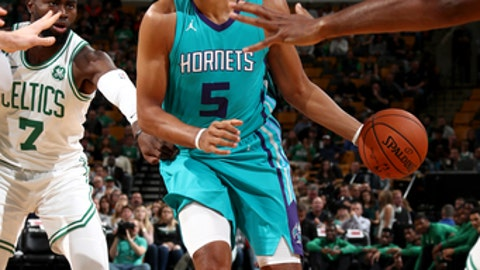 BOSTON, MA - OCTOBER 2:  Nicolas Batum #5 of the Charlotte Hornets handles the ball against the Boston Celtics on October 2, 2017 at the TD Garden in Boston, Massachusetts.  NOTE TO USER: User expressly acknowledges and agrees that, by downloading and or using this photograph, User is consenting to the terms and conditions of the Getty Images License Agreement. Mandatory Copyright Notice: Copyright 2017 NBAE  (Photo by Nathaniel S. Butler/NBAE via Getty Images)