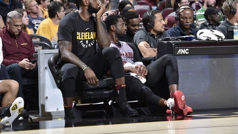 CLEVELAND, OH - OCTOBER 2:  LeBron James #23 and Dwyane Wade #9 of the Cleveland Cavaliers looks on during the open practice on October 2, 2017 at Quicken Loans Arena in Cleveland, Ohio. NOTE TO USER: User expressly acknowledges and agrees that, by downloading and/or using this Photograph, user is consenting to the terms and conditions of the Getty Images License Agreement. Mandatory Copyright Notice: Copyright 2017 NBAE (Photo by David Liam Kyle/NBAE via Getty Images)
