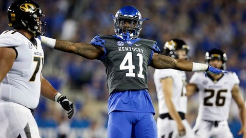 Kentucky linebacker Josh Allen (41) celebrates a missed Missouri field goal-attempt during the first half of an NCAA college football game Saturday, Oct. 7, 2017, in Lexington, Ky. (AP Photo/David Stephenson)