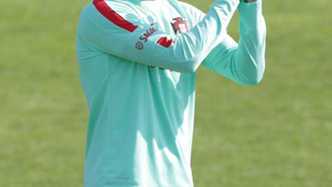 Portugal's Cristiano Ronaldo gestures during a training session in Oeiras, outside Lisbon, Monday, Oct. 9, 2017. Portugal will face Switzerland in a World Cup Group B qualifying soccer match in Lisbon Tuesday. (AP Photo/Armando Franca)