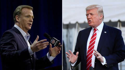 """FILE - At left, in a Feb. 1, 2017, file photo, NFL Commissioner Roger Goodell answers questions during a news conference for the Super Bowl 51 football game, in Houston. At right, in an Oct. 7, 2017, file photo, President Donald Trump speaks to reporters at the White House in Washington. NFL owners will meet next week to consider changes to a game manual that says players """"should"""" stand during the national anthem, a guideline that the league has left to the discretion of players who kneeled in larger numbers after criticism from President Donald Trump. Commissioner Roger Goodell told club executives Tuesday, Oct. 10, 2017, in a memo obtained by The Associated Press that the anthem issue is dividing the league from its fans. He said the NFL needs """"to move past this controversy."""" (AP Photo/File)"""