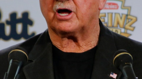 Former NFL coach and University of Pittsburgh alumnus, Mike Ditka speaks at a news conference for the retirement of the number 75 jersey for former Pittsburgh offensive lineman Jim Covert before an NCAA football game between the Pittsburgh and the Notre Dame, Saturday, Nov. 7, 2015 in Pittsburgh. (AP Photo/Keith Srakocic)