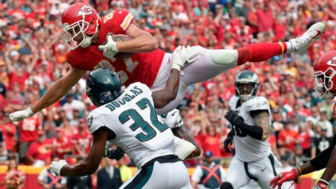 FILE - In this Sept. 17, 2017, file photo, Kansas City Chiefs tight end Travis Kelce (87) leaps over Philadelphia Eagles cornerback Rasul Douglas (32) for a touchdown during the second half of an NFL football game in Kansas City, Mo. he Chiefs are the lone unbeaten in the NFL, and it's not because they've had a charmed season. (AP Photo/Ed Zurga, File)