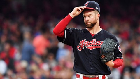 CLEVELAND, OH - OCTOBER 06:  Corey Kluber #28 of the Cleveland Indians reacts in the third inning against the New York Yankees during game two of the American League Division Series at Progressive Field on October 6, 2017 in Cleveland, Ohio.  (Photo by Jason Miller/Getty Images)
