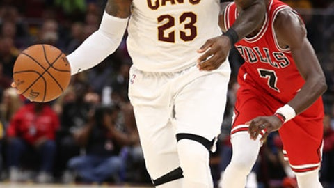 CLEVELAND, OH - OCTOBER 10: LeBron James #23 of the Cleveland Cavaliers while playing the Chicago Bulls during a pre season game at Quicken Loans Arena on October 10, 2017 in Cleveland, Ohio. NOTE TO USER: User expressly acknowledges and agrees that, by downloading and or using this photograph, User is consenting to the terms and conditions of the Getty Images License Agreement.  (Photo by Gregory Shamus/Getty Images)