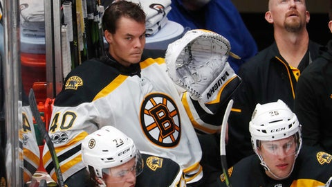 Boston Bruins starting goalie Tuukka Rask, of Finland, sits in the team box after being pulled from the ice during the third period of the team's NHL hockey game against the Colorado Avalanche on Wednesday, Oct. 11, 2017, in Denver. Colorado won 6-3. (AP Photo/David Zalubowski)