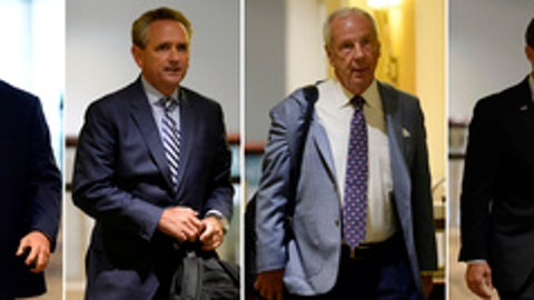 FILE - From left, in Aug. 16, 2017, file photos, University of North Carolina Chancellor Carol Folt, Southeastern Conference Commissioner Greg Sankey, University of North Carolina athletic director Bubba Cunningham, University of North Carolina basketball coach Roy Williams, University of North Carolina football coach Larry Fedora and University of North Carolina women's basketball coach Sylvia Hatchell arrive at an NCAA hearing in Nashville, Tenn. Three people with knowledge of the investigation told The Associated Press on Thursday, Oct. 12, 2017, that the NCAA infractions panel handling North Carolina's multi-year academic case plans to release its report Friday. (AP Photo/Mark Zaleski, File)