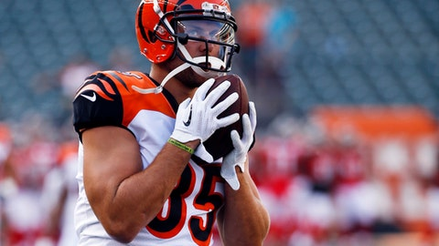 FILE - In this Aug. 11, 2017, file photo, Cincinnati Bengals tight end Tyler Eifert warms up before an NFL football game against the Tampa Bay Buccaneers in Cincinnati. Eifert will miss the rest of the season with a back injury that has put his career in jeopardy, the team announced Thursday, Oct. 12, 2017. (AP Photo/Frank Victores, File)