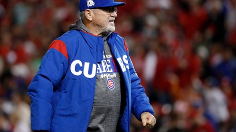Chicago Cubs manager Joe Maddon walks from the field after pulling pitcher Carl Edwards Jr. during the seventh inning in Game 5 of baseball's National League Division Series against the Washington Nationals, at Nationals Park, Thursday, Oct. 12, 2017 in Washington. (AP Photo/Pablo Martinez Monsivais)