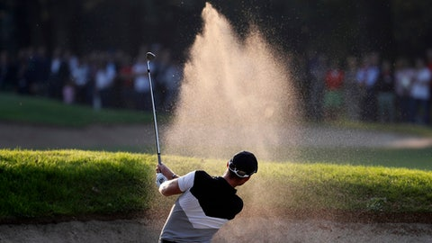 Danny Willett, of Britain, hits the ball during the 74th Italian Open Golf tournament in Monza, Italy, Friday, Oct. 13, 2017. (AP Photo/Antonio Calanni)