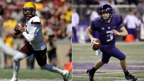 FILe - At left, in a Sept. 30, 2017, file photo, Arizona State quarterback Manny Wilkins scrambles during the first half of an NCAA college football game against Stanford, in Stanford, Calif. At right, in an Oct. 7, 2017, file photo, Washington quarterback Jake Browning runs against California in the first half of an NCAA college football game, in Seattle. No. 5 Washington plays at Arizona State on Saturday. (AP Photo/File)