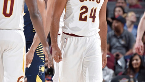 CLEVELAND, OH - OCTOBER 6: Richard Jefferson #24 of the Cleveland Cavaliers reacts during the preseason game against the Indiana Pacers on October 6, 2017 at Quicken Loans Arena in Cleveland, Ohio.  NOTE TO USER: User expressly acknowledges and agrees that, by downloading and or using this Photograph, user is consenting to the terms and conditions of the Getty Images License Agreement. Mandatory Copyright Notice: Copyright 2017 NBAE (Photo by David Liam Kyle/NBAE via Getty Images)