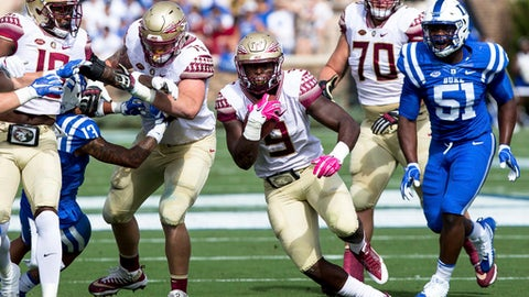 Florida State's Jaques Patrick carries the ball during the first half of an NCAA college football game against Duke in Durham, N.C., Saturday, Oct. 14, 2017. (AP Photo/Ben McKeown)