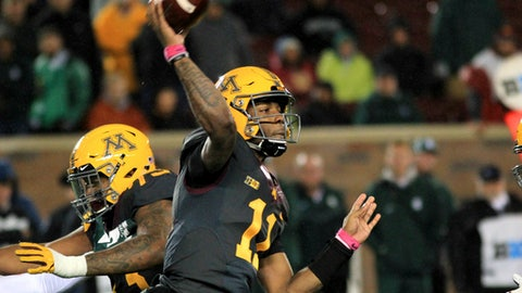 Minnesota quarterback Demry Croft (11) throws a pass against Michigan State during the third quarter of an NCAA college football game on Saturday, Oct. 14, 2017, in Minneapolis. Michigan State defeated Minnesota 30-27. (AP Photo/Andy Clayton-King)