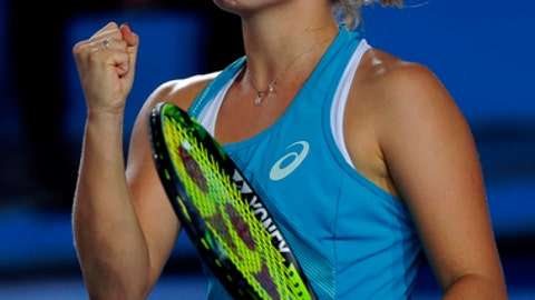 Daria Gavrilova of Australia reacts during the final match against Anastasia Pavlyuchenkova of Russia at the Hong Kong Open tennis tournament in Hong Kong, Sunday, Oct. 15, 2017. (AP Photo/Vincent Yu)