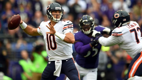 Chicago Bears quarterback Mitchell Trubisky (10) throws to a receiver in the first half of an NFL football game against the Baltimore Ravens, Sunday, Oct. 15, 2017, in Baltimore. (AP Photo/Gail Burton)