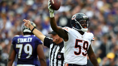 Chicago Bears inside linebacker Danny Trevathan celebrates after Chicago recovered a Baltimore Ravens fumble in the first half of an NFL football game, Sunday, Oct. 15, 2017, in Baltimore. (AP Photo/Gail Burton)