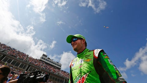 Dale Earnhardt Jr. walks off the stage after the NASCAR Talladega auto race driver introductions at Talladega Superspeedway, Sunday, Oct. 15, 2017, in Talladega, Ala. (AP Photo/Brynn Anderson)