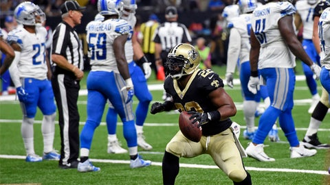 New Orleans Saints running back Mark Ingram (22) celebrates his touchdown in the first half of an NFL football game against the Detroit Lions in New Orleans, Sunday, Oct. 15, 2017. (AP Photo/Bill Feig)
