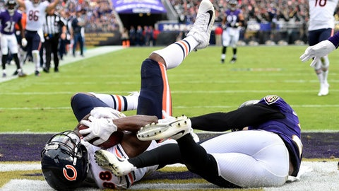 Chicago Bears tight end Dion Sims, left, scores a touchdown in front of Baltimore Ravens strong safety Tony Jefferson in the second half of an NFL football game, Sunday, Oct. 15, 2017, in Baltimore. (AP Photo/Gail Burton)