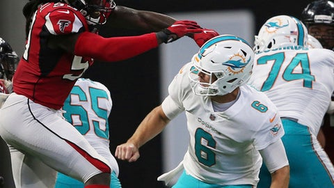 Atlanta Falcons outside linebacker De'Vondre Campbell (59) hits the ball after Miami Dolphins quarterback Jay Cutler (6) passed during the second half of an NFL football game, Sunday, Oct. 15, 2017, in Atlanta. (AP Photo/John Bazemore)