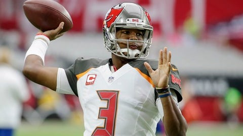 Tampa Bay Buccaneers quarterback Jameis Winston warms up prior to an NFL football game against the Arizona Cardinals, Sunday, Oct. 15, 2017, in Glendale, Ariz. (AP Photo/Rick Scuteri)