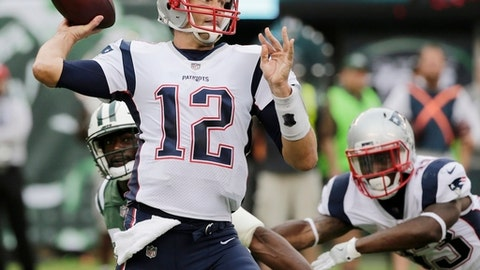 New England Patriots quarterback Tom Brady (12) throws a pass during the first half of an NFL football game against the New York Jets, Sunday, Oct. 15, 2017, in East Rutherford, N.J. The Patriots won 24-17. (AP Photo/Seth Wenig)