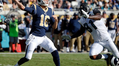 Los Angeles Rams quarterback Jared Goff (16) throws a pass as he is pressured by Jacksonville Jaguars defensive end Yannick Ngakoue (91) during the first half of an NFL football game, Sunday, Oct. 15, 2017, in Jacksonville, Fla. (AP Photo/Stephen B. Morton)