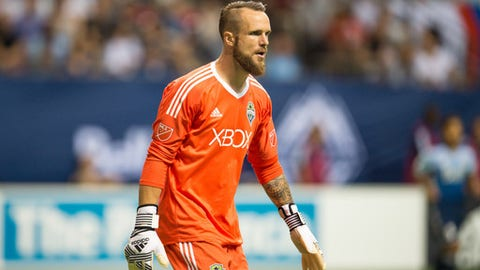 VANCOUVER, BC - AUGUST 23: Seattle Sounders goalkeeper Stefan Frei (24) watches the play during their match against the Vancouver Whitecaps at BC Place on August 23, 2017 in Vancouver, Canada. (Photo by Derek Cain/Icon Sportswire via Getty Images)