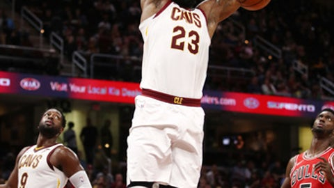 CLEVELAND, OH - OCTOBER 10: LeBron James #23 of the Cleveland Cavaliers drives for a second half dunk while playing the Chicago Bulls during a pre season game at Quicken Loans Arena on October 10, 2017 in Cleveland, Ohio. Chicago won the game 108-94. NOTE TO USER: User expressly acknowledges and agrees that, by downloading and or using this photograph, User is consenting to the terms and conditions of the Getty Images License Agreement.  (Photo by Gregory Shamus/Getty Images)