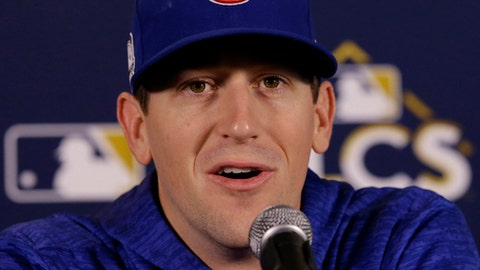 Chicago Cubs starting pitcher Kyle Hendricks talks at a news conference, Monday, Oct. 16, 2017, in Chicago. The Chicago Cubs will play Game 3 of baseball's National League Championship Series against the Los Angeles Dodgers on Tuesday. (AP Photo/Nam Y. Huh)