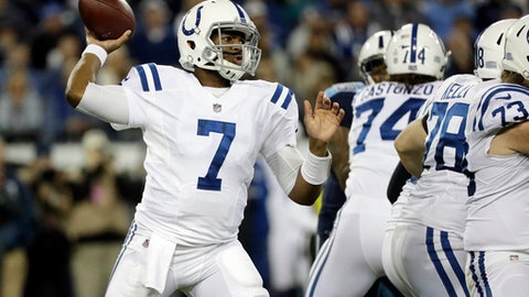 Indianapolis Colts quarterback Jacoby Brissett (7) passes against the Tennessee Titans in the first half of an NFL football game Monday, Oct. 16, 2017, in Nashville, Tenn. (AP Photo/James Kenney)