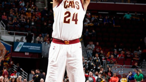 CLEVELAND, OH - OCTOBER 6: Richard Jefferson #24 of the Cleveland Cavaliers shoots a free throw during the preseason game against the Indiana Pacers on October 6, 2017 at Quicken Loans Arena in Cleveland, Ohio.  NOTE TO USER: User expressly acknowledges and agrees that, by downloading and or using this Photograph, user is consenting to the terms and conditions of the Getty Images License Agreement. Mandatory Copyright Notice: Copyright 2017 NBAE (Photo by Nathaniel S. Butler/NBAE via Getty Images)