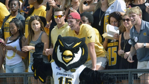 FILE - In this Sept. 12, 2015, file photo, Kennesaw States' mascot, the owl, cheers along with the crowd during their an NCAA college football game against Edward Waters, in Kennesaw, Ga. A Georgia lawmaker says Scrappy the Owl, the mascot at the university where five cheerleaders have been kneeling during the national anthem, had no business leading students in a march through campus to support the cheerleaders. The five Kennesaw State University cheerleaders vow to kneel in the stadium tunnel when the anthem is played at Saturday's homecoming football game. They were moved off-field after an earlier protest.(AP Photo/Lisa Marie Pane, File)