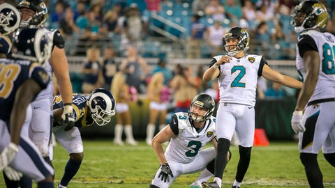 Jacksonville Jaguars kicker Jason Myers (2) reacts to missing a field goal late in the the fourth quarter of an NFL football game against the Los Angeles Rams, Sunday, Oct. 15, 2017, in Jacksonville, Fla. The Rams beat the Jaguars 27-17. (AP Photo/Stephen B. Morton)