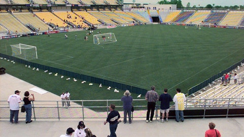 """FILE - In this May 15, 1999, file photo, the stadium built for the Columbus Crew soccer team is shown in Columbus, Ohio. The owner of the Crew SC says the team will move to Austin, Texas, unless a new stadium is built in Columbus. Precourt Sports Ventures, owner of the Major League Soccer club since 2013, said it """"is exploring strategic options to ensure the long-term viability of the club."""" (AP Photo/Chris Putman, File)"""
